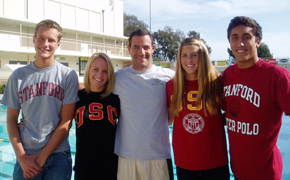 Mark Walsh's 2009 class of NCAA athletes included Hunter Ploch, left, Lindsey Parrish, Lolo Blair, and Ian Gamble, right.