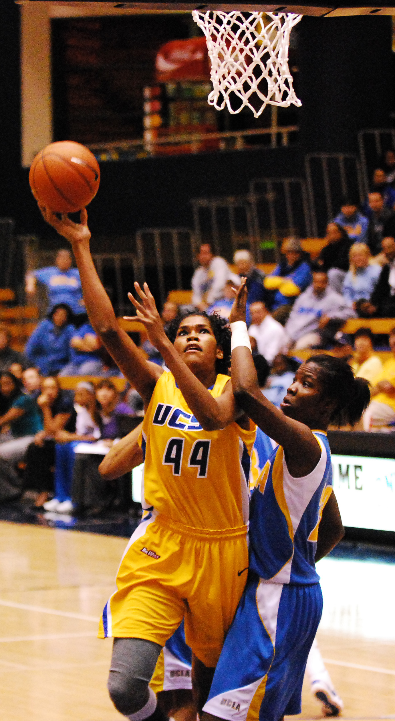 UCSB's Mekia Valentine goes up for a layup against the Bruins.
