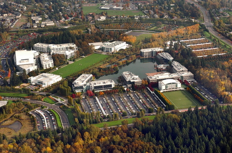 An arial view of Nike headquarters in Beaverton, Oregon.