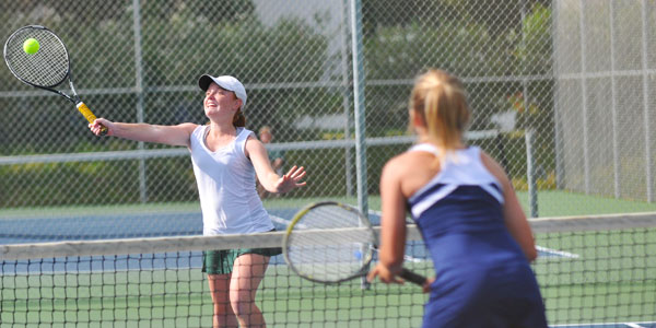 Santa Barbara's Stephanie Thornton returns a forehand volley in her first-round win with doubles partner Haley Galitzer.
