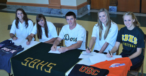 Santa Barbara High athletes moving on to NCAA athletics next year, from left to right: Kai Miller, Makenzy Fowler, Collin Dewell, Eve Ettinger, Tess Emerson.