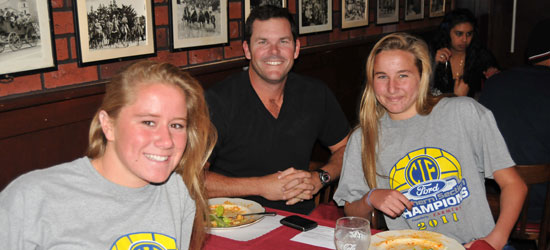 Dos Pueblos' Tiera Schroeder, left, coach Chris Parrish, and Jamie Neushul were at Monday's luncheon after winning a CIF title on Saturday.