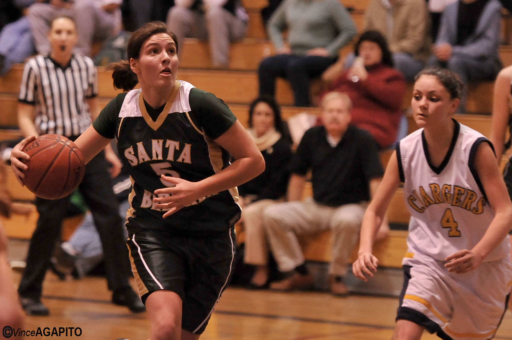 For rotating Header - Riley Lloyd of Santa Barbara drives the lane and goes up for two of her ?? points.