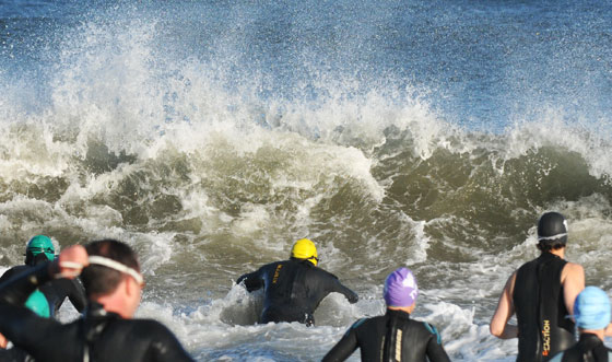 The wind created a fair amount of swell and chop for the swimmers to deal with.
