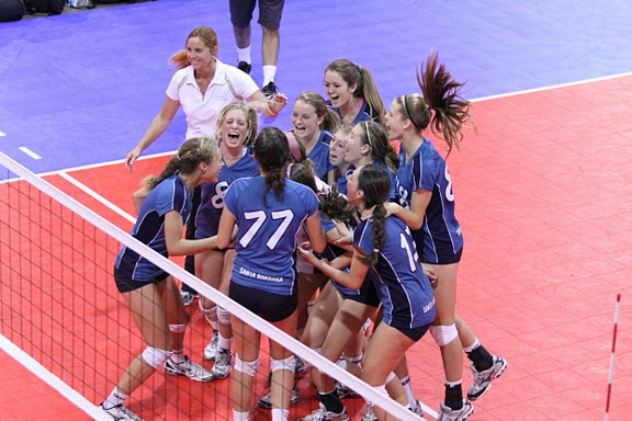 Santa Barbara Volleyball Club's 15-Smack celebrate a victory at the USA Volleyball Junior Nationals.