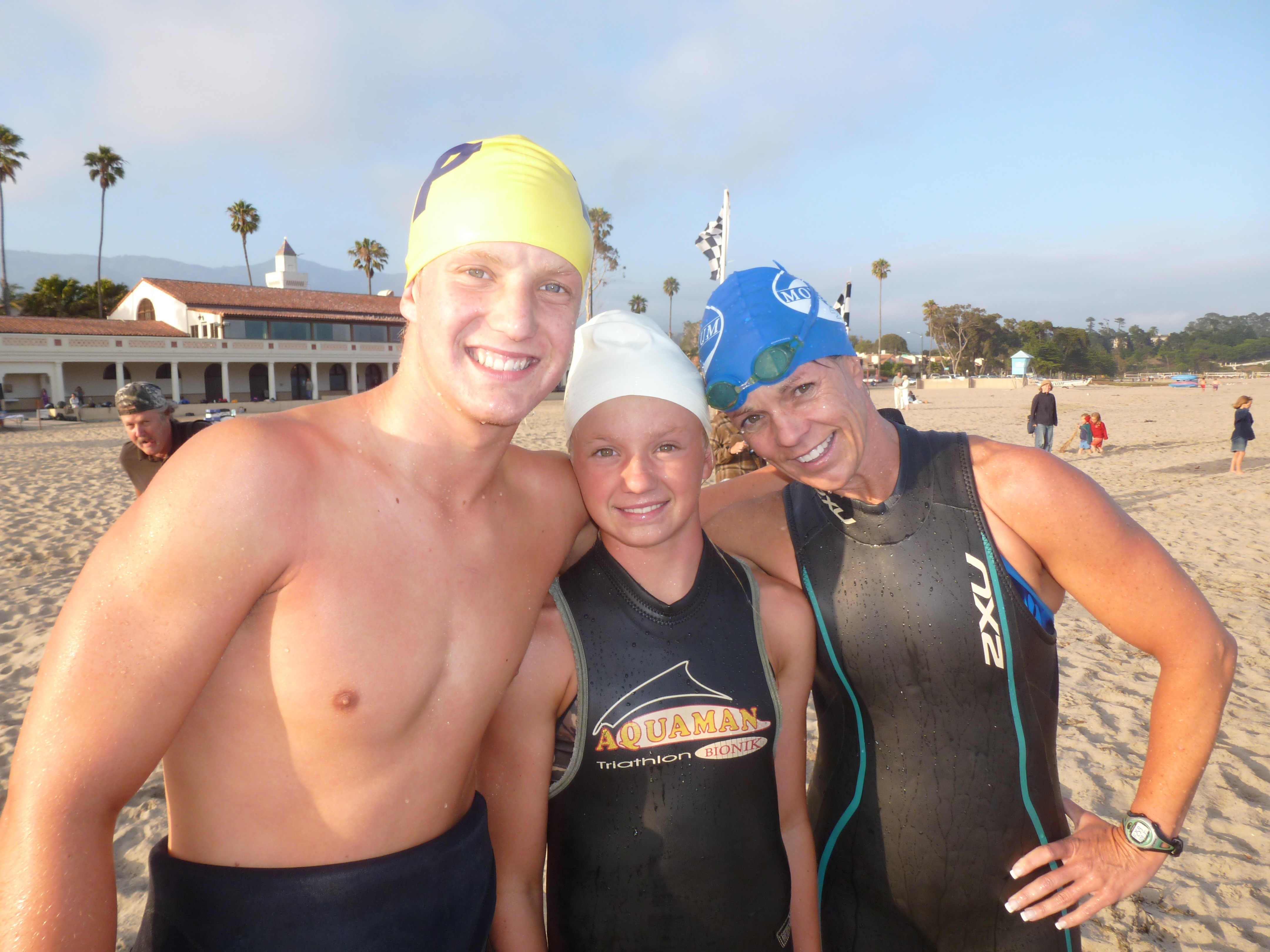 The Schroeder family, from left, son Grant, daughter Erica and mom Dawn did the 1k ocean swim together at the Reef and Run Series. (Photo by Randy Weiss)