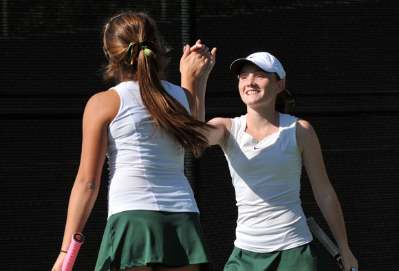Karina Thornton, facing camera, and Lisa Santry were one of three Dons' doubles teams that went undefeated in the title match.