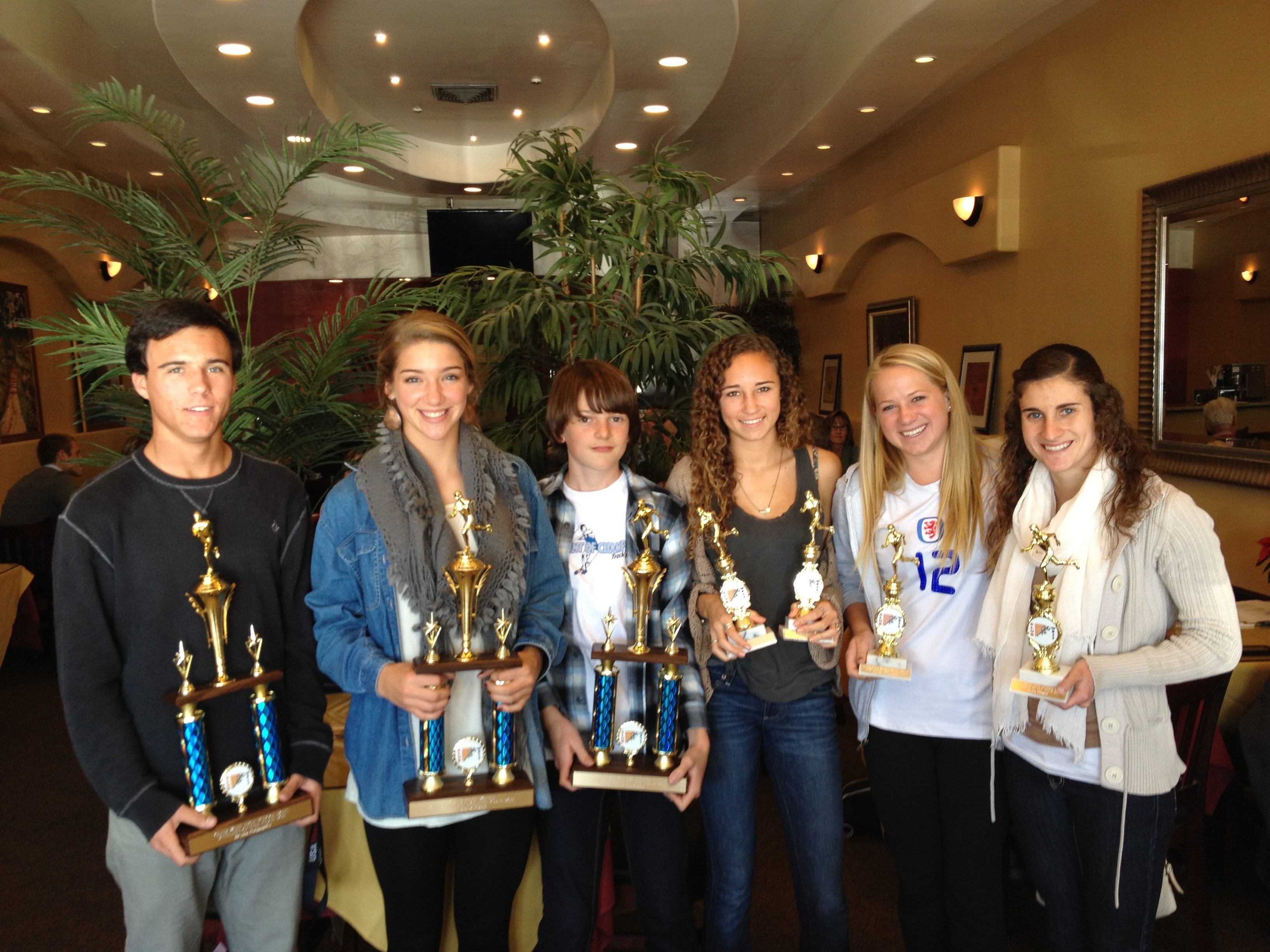 Recipients of the Club West High School and Junior High School Athlete of the Year Awards: From left, Bryan Hernandez (Dos Pueblos), Natalie Klapp (Goleta Valley), Jack Randmaa (La Colina), Hannah McDaniel (San Marcos, Cal Poly), Kaylin Koopmans (San Marcos), and Elysia Hodges (San Marcos, Westmont). Not pictured: Marie Brashears (San Marcos, UC Irvine).
