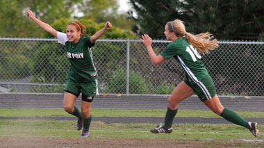 Long Beach Poly's Celeste Dominquez celebrates her game-winning goal on Wednesday.