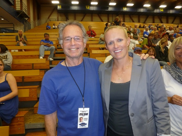 John Zant stands in with one of UCSB's greatest women's basketball players in Erin Alexander.
