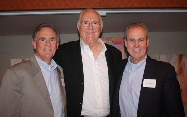 Westmont men's basketball coach John Moore, left, keynote speaker Stan Morrison, middle, and event organizer Rick Wilson, right.
