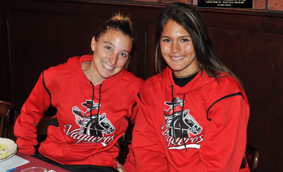 SBCC softball players Bryn Thompson, left, and Alyse Harris, right.