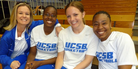 UCSB women's basketball coach Carlene Mitchell with players Sweets Underwood, Melissa Zornig and