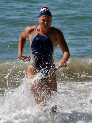Courtney Weigand Morrison, Weigand conquer 3 mile swim