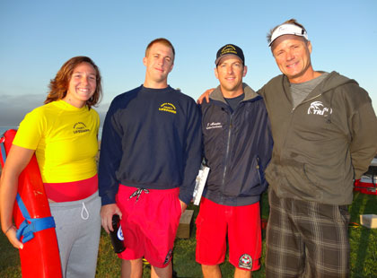 Lifeguard Leadership:  Kaitlyn Ogar, Matt Rogers & Supervisor Jon Menzies with Race Director Jerrett McFarland.