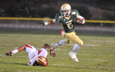 Jason Jimenez was Santa Barbara's leading rusher on Friday and scored the winning touchdown. (Presidio Sports Photo)