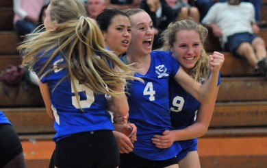 Cate celebrates their Game 4 win on the way to five-set CIF victory over Carpinteria.