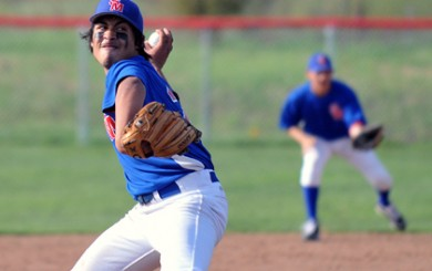 San Marcos' Isaac Rodriguez winds up before throwing to the plate on Tuesday.