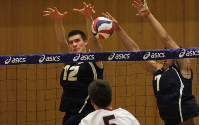Gauchos Jake Stahl (left) and Austin Kingl block a shot from Stanford's Brian cook in the second game.