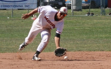 SBCC shortstop Steven Reveles fields a ground ball during the Vaqueros' win over Ventura.