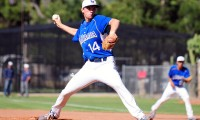 La Mirada's Blake Wilson makes a pitch from the windup on Tuesday. (Presidio Sports Photo)