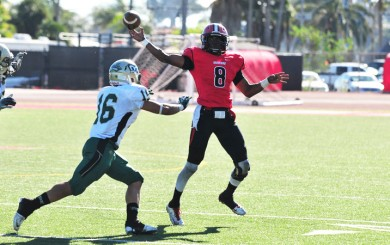 SBCC quarterback Jarred Evans completed 25-of-42 passes for a career-high 335 yards and two TDs