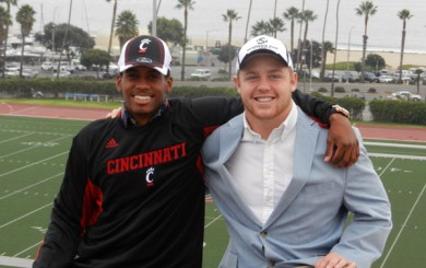 Santa Barbara City College players Jared Evans, left, and Morgan Nevin, right, have comitted to Cincinnati and Sacramento State.
