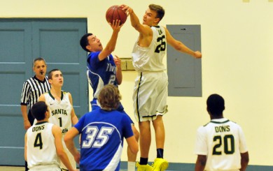 Santa Barbara's Jack Baker records one of his 10 blocked shots against Fillmore.
