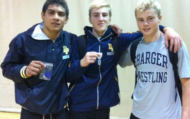 Dos Pueblos' Eden Martinez, left, Cameron cox, center, and Jeffy Uyesaka.
