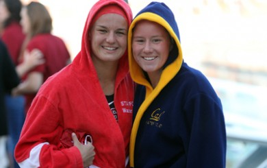 Stanford's Kiley Neushul and Cal's Tiera Schroeder - former teammates in high school and club.