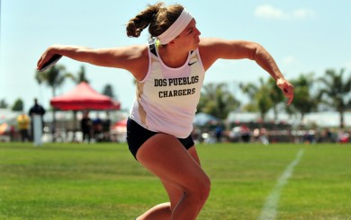 Stamatia Scarvelis of Dos Pueblos won CIF Division 2 titles in the discus and shot put.