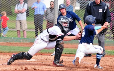 Paddy O'Brien tags out a runner at the plate for SBCC this Spring. (Presidio Sports File Photo)