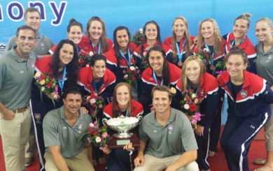 The U.S. Women's Water Polo team includes locals Sami Hill and Kiley Neushul (third, fourth players in top row) and Kami Craig (top row, second on right)