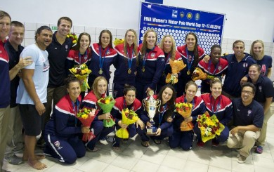 Team USA celebrates after winning the FINA World Cup. Locals Kiley Neushul, Sami Hill and Kami Craig are members of the team.