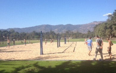 Laguna Blanca School played its first match on its on-campus sand volleyball courts.